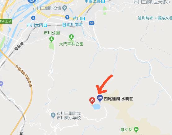 四尾連湖の地図