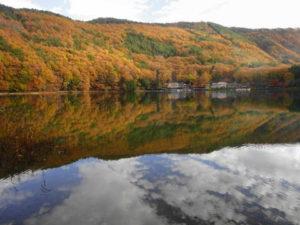 四尾連湖の紅葉。湖に移って美しい。