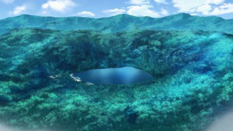 ゆるキャン7話。オープニング。四尾連湖の全景。