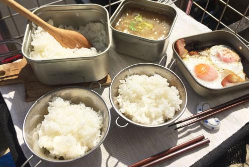 ユニフレーム山クッカー角型3で炊飯。