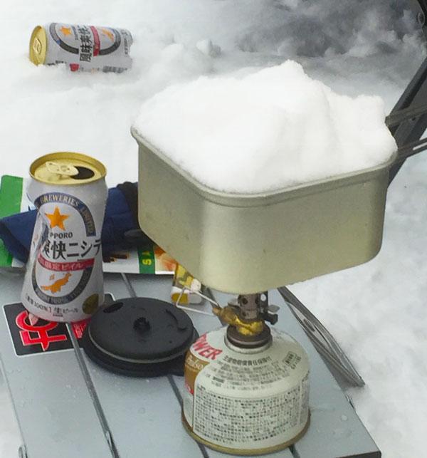 ビールが雪で冷やせる