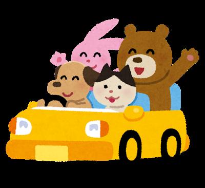 車に乗る動物