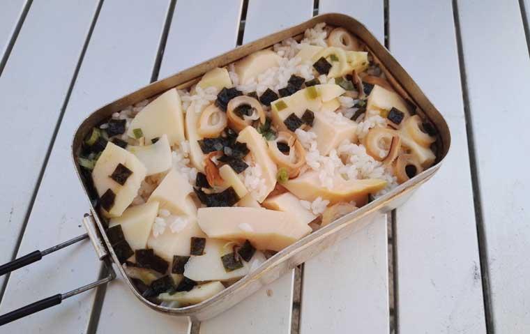 松茸のお吸い物の炊きこみごはん。炊きあがり