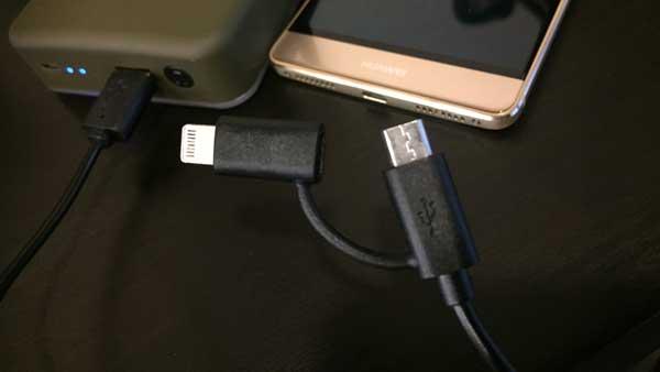 WAQ付属のUSBケーブル iPhone/Androidどちらも対応