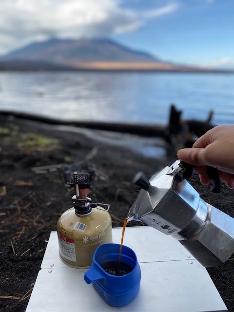 富士山を見ながらコーヒー