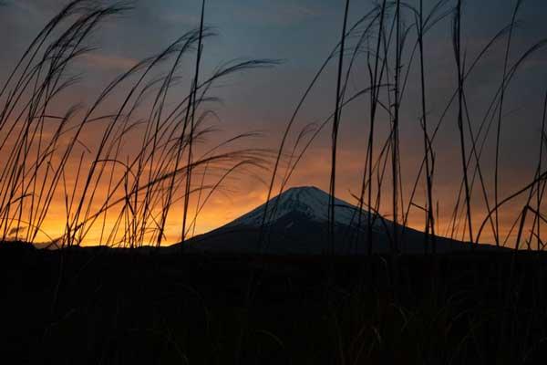 みらくのキャンプ場から見える富士山