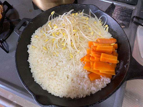 スキレットでお米がたけた
